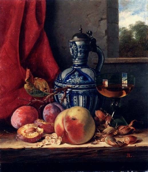 Still Life With Peaches Whitecurrants Hazelnuts A Glass And A Stoneware Jug